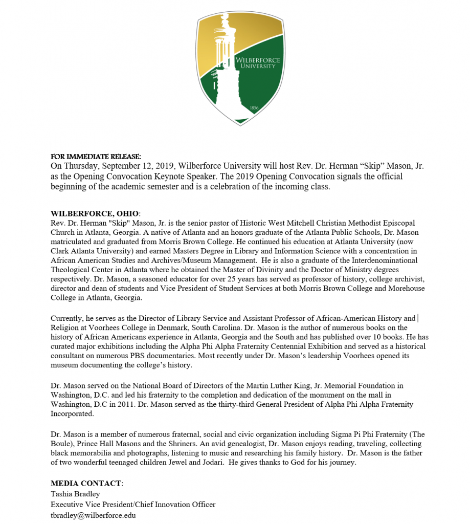Press Release: 2019 Opening Convocation